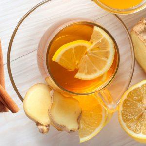 Chá de Gengibre com canela e casca de limão