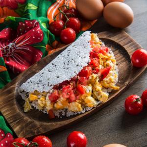Tapioca com Linhaça, Ovo e Tomate