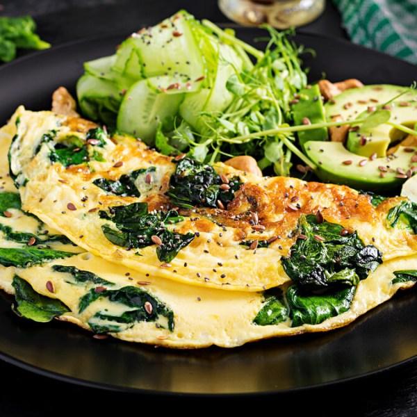 Receita de Omelete de sementes e espinafre