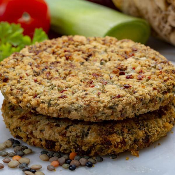 Receita de Hambúrguer de lentilha e linhaça